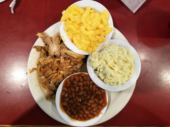 Bullocks Durham, NC Spicey Pulled Pork, Baked Beans, Mac and Cheese, potato Salad