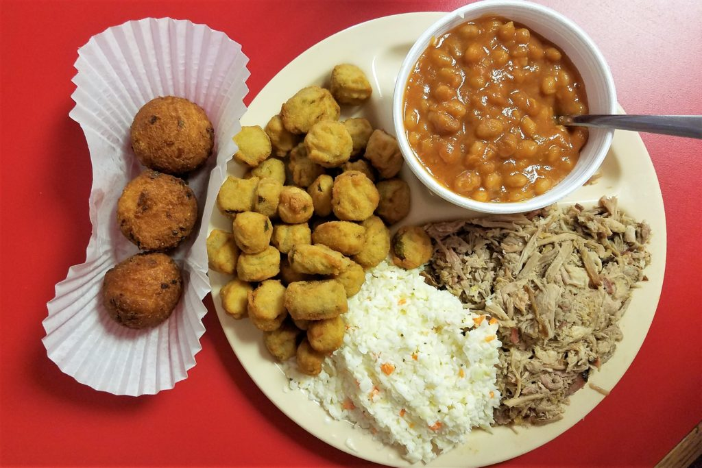 Randy's Bar B Que Troutman, NC pulled chopped Pork Baked Bean Okra Slaw